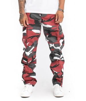 Мотоджинсы с кевларом - цвет камуфляж красный