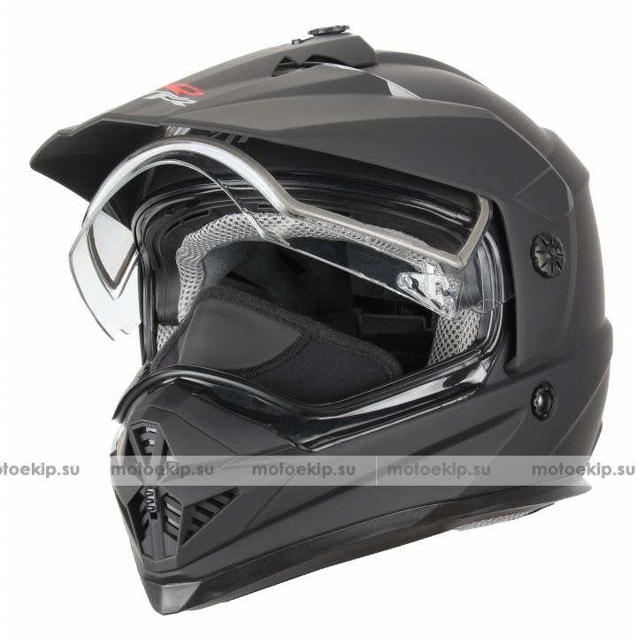 Снегоходный шлем с двойным стеклом XTR DSE1 черный матовый