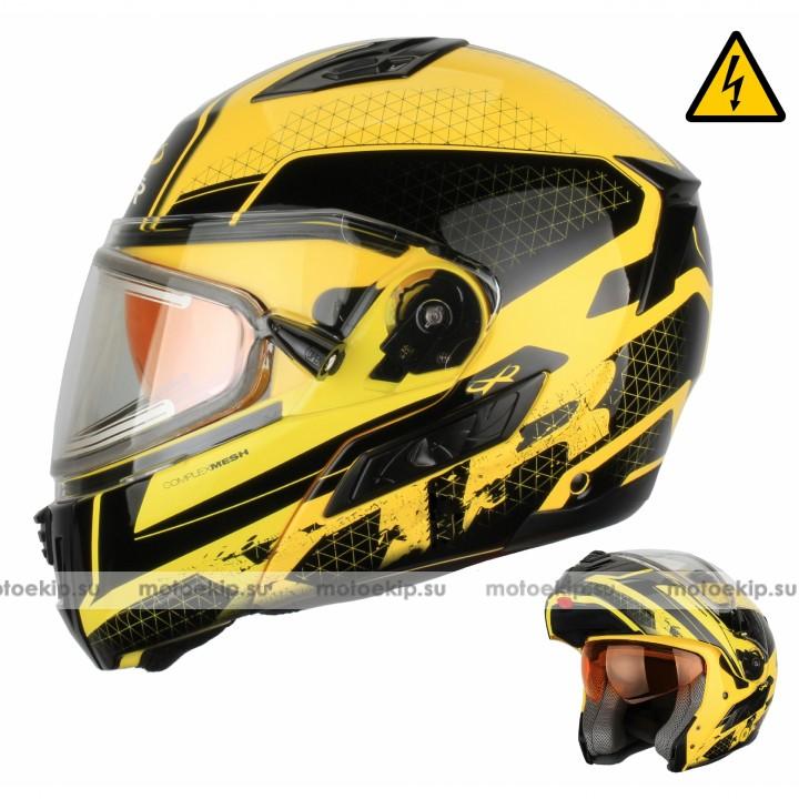Снегоходный шлем модуляр с электростеклом XTR MODE1 желтый