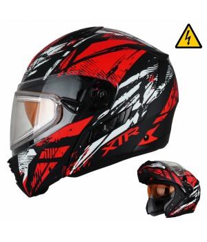 Снегоходный шлем модуляр с электростеклом XTR MODE1 Tornado красный матовый