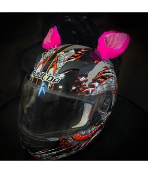 """Ушки на шлем """"Мотоушки Pink cat"""""""