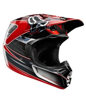 Шлем кроссовый FOX V3 Steel Faith серебро/красный