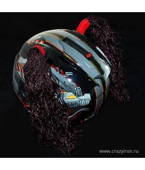 Косички на шлем брюнет WAVE