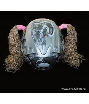 Косички на шлем кофе-микс WAVE