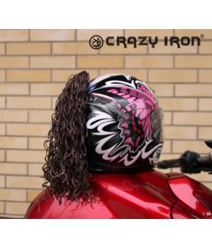 Пони-косичка на шлем коричневая