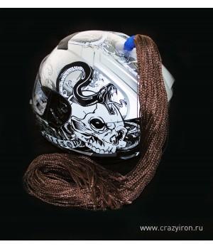 Пони-косичка на шлем коричневая 60-70см