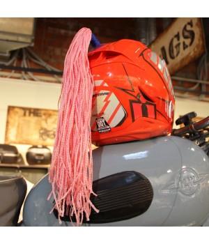 Пони-косичка на шлем розовая 40см
